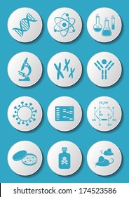 Blue molecular biology science icons on white buttons
