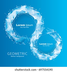 Blue molecular geometric pattern abstract background.