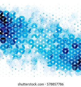 Blue molecular structure abstract geometric pattern background.