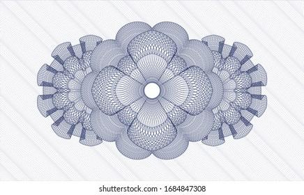Blue money style emblem or rosette. Vector Illustration. Detailed.
