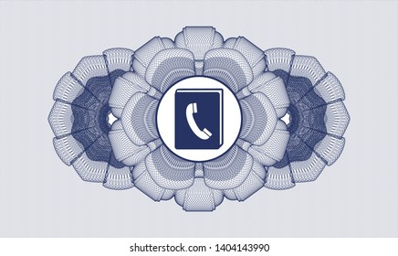 Blue money style rosette with phonebook icon inside