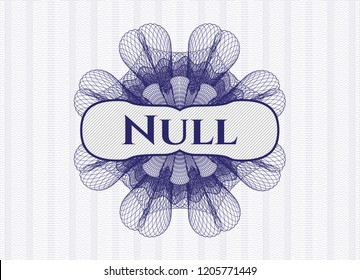 Blue money style rosette with text Null inside