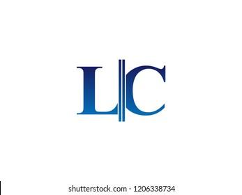 The blue monogram logo letter LC is sliced