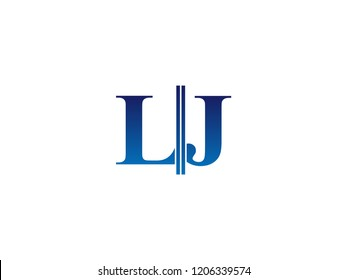 The blue monogram logo letter LJ is sliced