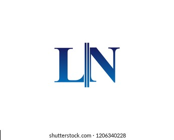The blue monogram logo letter LN is sliced