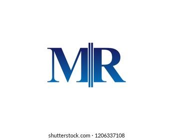The blue monogram logo letter MR is sliced