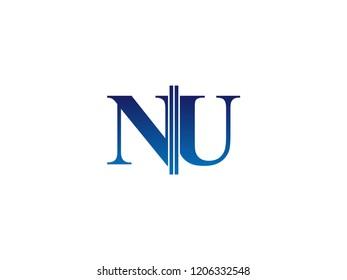 The blue monogram logo letter NU is sliced
