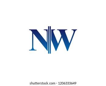 The blue monogram logo letter NW is sliced