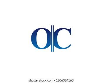 The blue monogram logo letter OC is sliced
