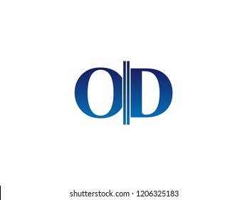 The blue monogram logo letter OD is sliced