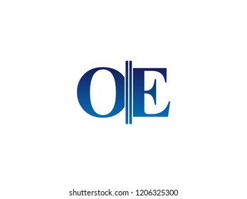 The blue monogram logo letter OE is sliced