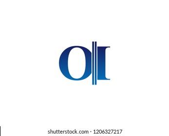 The blue monogram logo letter OI is sliced