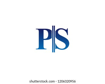The blue monogram logo letter PS is sliced
