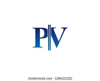 The blue monogram logo letter PV is sliced