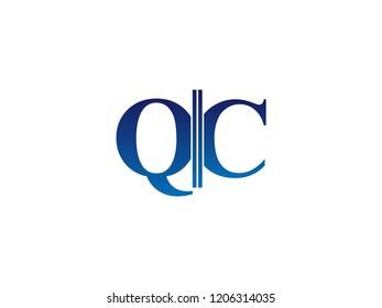The blue monogram logo letter QC is sliced