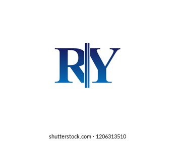 The blue monogram logo letter RY is sliced