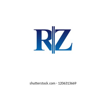 The blue monogram logo letter RZ is sliced