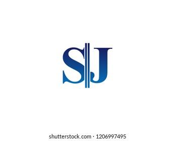 The blue monogram logo letter SJ is sliced