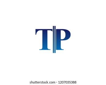 The blue monogram logo letter TP is sliced