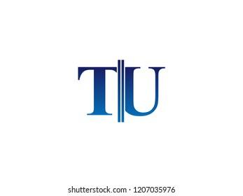 The blue monogram logo letter TU is sliced