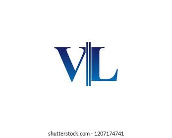 The blue monogram logo letter VL is sliced