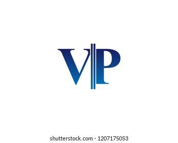 The blue monogram logo letter VP is sliced