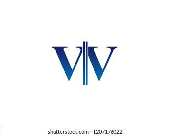 The blue monogram logo letter VV is sliced