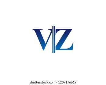 The blue monogram logo letter VZ is sliced
