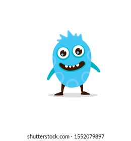 Blue monster, like a chick. The creature has large eyes and a smiling mouth.