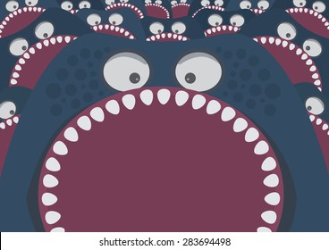 Blue monster with sharp teeth attack