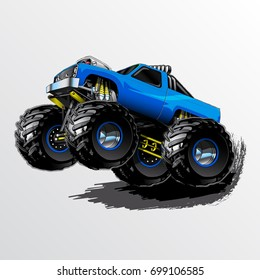 Blue Monster Truck with Supercharger and KC Lights