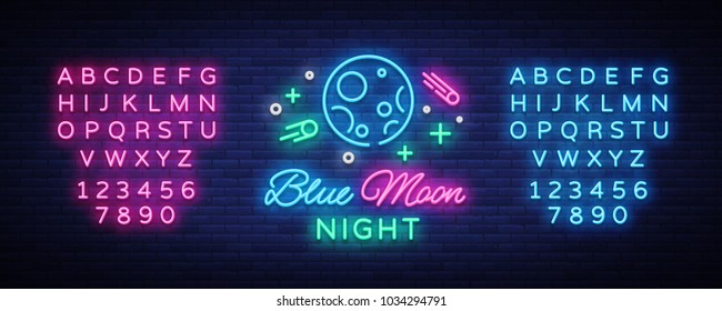 Blue Moon Night Club Logo in Neon Style. Neon Sign, Light Banner, Night Bright Night Club Advertising. Disco. Design template for invitation party. Vector illustration. Editing text neon sign