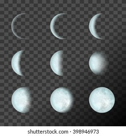 Blue moon phases on a transparent background. Vector Illustration, EPS 10