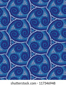 Blue Mosaic Background Texture Tile in Repeat