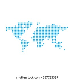 A Blue Mosaic Icon Isolated on a White Background - World Map