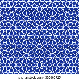 blue mosaic moroccan zellige seamless. vector illustration