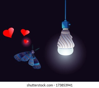 Blue moth with LED bulb