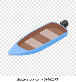 Blue motor boat isometric icon 3d on a transparent background vector illustration