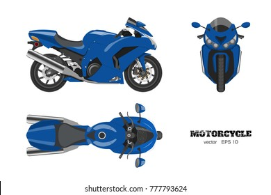 Blue motorcycle in realistic style. Side, top and front view. Detailed image of bike on white background. Vector illustration