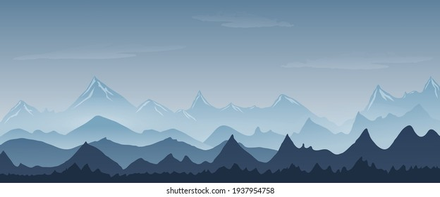 blue mountain landscape with fog background abstract. vector illustration. flat panoramic vector