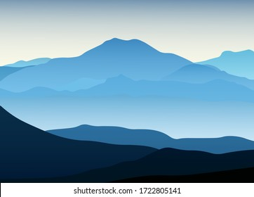 Blue mountain landscape view with silhouette. Vector illustration background for poster, banner, web, social media, card, cover, ui.
