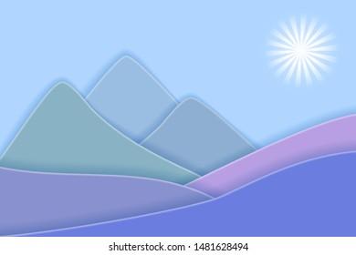 Blue mountains landscape. 3D paper art style. Vector EPS10