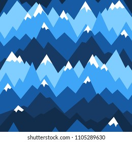 Blue mountains seamless pattern. Vector background for hiking and outdoor concept. Mountains ridges in geometric style.