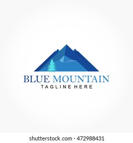 mountain logo flat design logo template のベクター画像素材