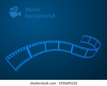 blue movie abstract background with film strip and camera