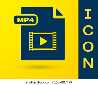 Blue MP4 file document. Download mp4 button icon isolated on yellow background. MP4 file symbol.  Vector Illustration