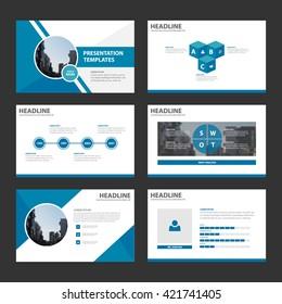 Blue multipurpose presentation template flat design set and elements for brochure, flyer, leaflet, annual report