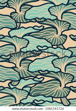 Blue mushroom abstract. Seamless pattern background. Modern nature background vector