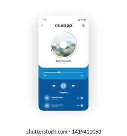 Blue Music Player App UI, UX, GUI screen for mobile apps design. Modern responsive user interface design of mobile applications including Music Playlist, tracks, track name elements
