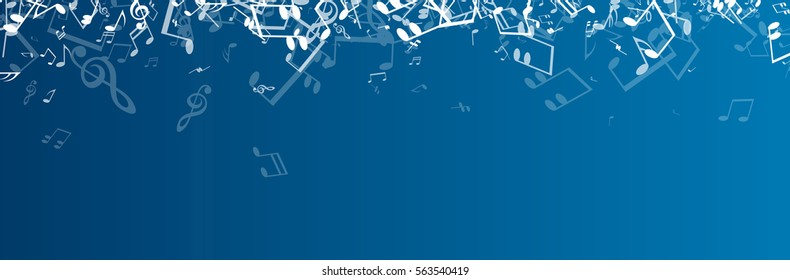 Blue musical banner with white notes. Vector illustration.
